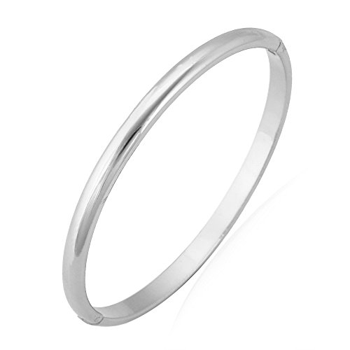 U7 Bangle for Women Girl Platinum Plated Simple Cuff (Mens White Gold Bangle)