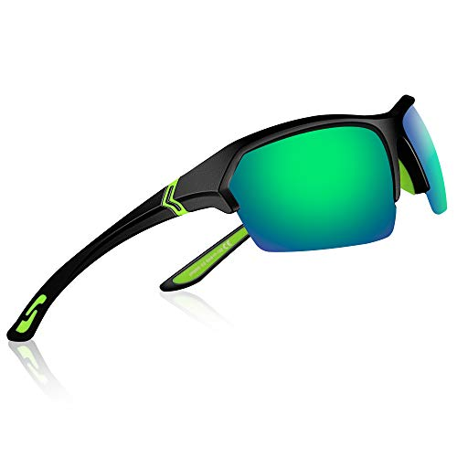 FILDO Polarized Sport Sunglasses for Men Women Sun Glasses with TR90 Lightweight Frame UV400 Protection Polarized Lens Shades for Driving Baseball Jogging Cycling Fishing Golf (Black/Green REVO) (Best Lens For Baseball)