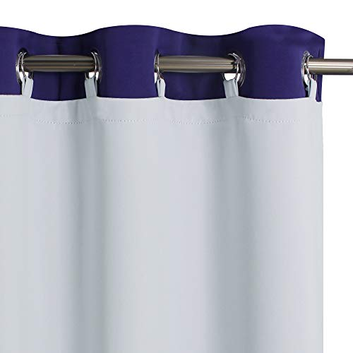 KGORGE Thermal Insulated Blackout Liners - Easy Install Curtain Liners with Top Tab Grommets, Heat Blocking Privacy Window Curtain Drapes for L63 Bedroom Blinds, Greyish White (2 Pcs, 50