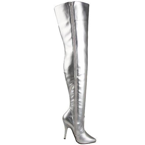Pleaser Damen Seduce-3010 Oberschenkel Hohe Stiefel Silber Pu