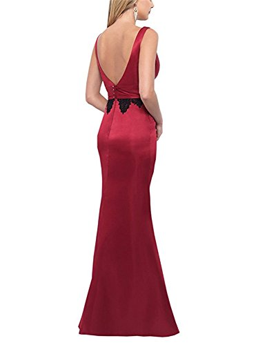 2018 Neck Red Dresses Prom DreHouse Evening Long Gowns V Backless Formal Women's wqA7Fnx8
