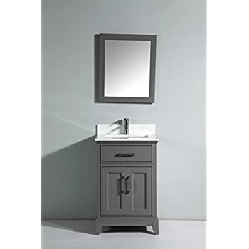 This Item Vanity Art 24 Inch Single Sink Bathroom Vanity Set With White Phoenix Stone Top Drain And Mirror Gray