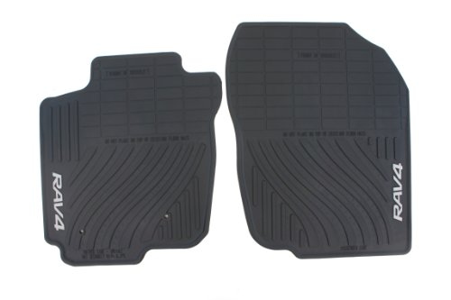 Genuine Toyota Accessories PT908-4200W-20 Front and Rear All-Weather Floor Mat (Black), Set of 2