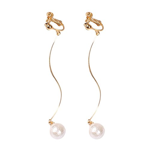 Screw Back Clip on Earring for Non Piercing Simple Simulated Pearl Long Tassel Fashion for Girl