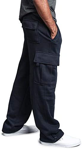 G-Style USA Men's Solid Fleece Heavyweight Cargo Pants