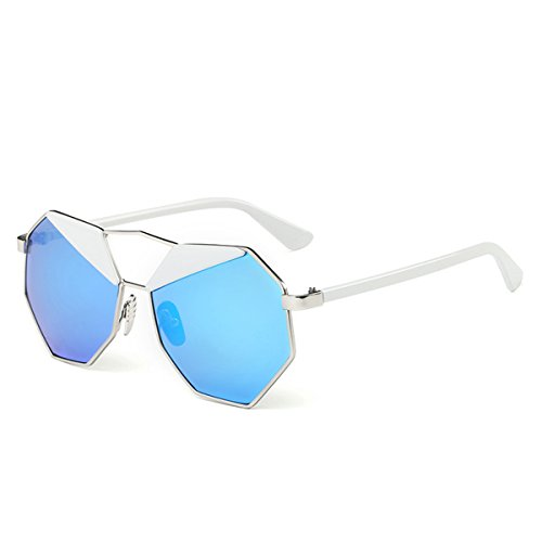 Blue Mirrored Sunglasses Vintage New Design Octagon Shape Uv400 Women Sunglasses (ice - Women For Glasses Funky