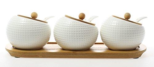 JustNile Ceramic Spice Jar Set - 3 Pcs Ball White and Wood Base Lid