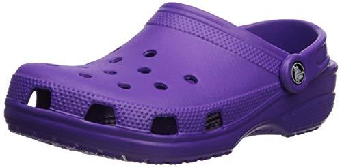 Crocs Men's and Women's Classic Clog, Comfort Slip On Casual Water Shoe, Lightweight, Neon Purple, 7 US Women / 5 US Men