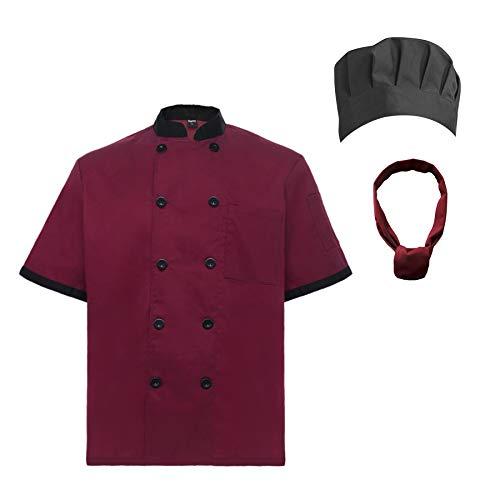 TopTie Unisex Short Sleeve Cooking Chef Coat Jacket & Hat & Bandana Set-Red-XXL by TopTie