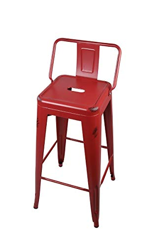 GIA 30-Inch Low Back Stool with Metal Seat, Red, 4-Pack