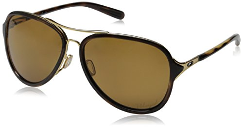 Oakley Women's Kickback OO4102-02 Polarized Aviator Sunglasses, Gold Satin, 58 mm by Oakley