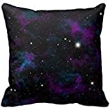 Personalized 18x18 Inch Square Cotton Purple and Blue Galaxy Throw Pillow Throw Pillow Case Decor Cushion Covers