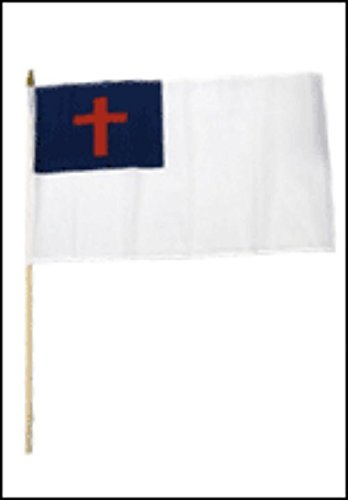 ALBATROS 12 inch x 18 inch (Pack of 3) Christian Christ Cross Stick Flag with Wood Staff for Home and Parades, Official Party, All Weather Indoors Outdoors