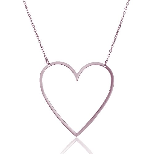 AOCHEE Mom Open Heart Necklace Sideways Heart Open Necklace Pendant for Women Girls(Rose Gold)