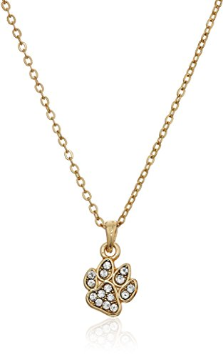 Pet Friends Goldtone/Crystal Pave Paw Pendant, Gold (Gold Pet Crystals)