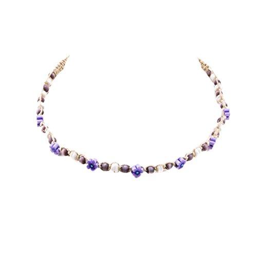 Choker Eye Cat Necklace (Hemp Choker Necklace with Shells, Purple Cats Eye Beads and Purple Fimo Flowers)