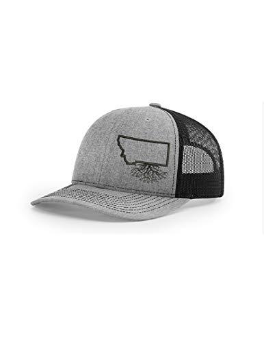 Wear Your Roots Snapback Trucker Hat (One Size - Adjustable, Montana Heather/Black Mesh)
