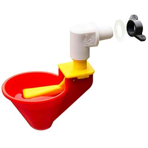 Automatic Premium Chicken Waterer Cups with Mounting Hardware - New Version (from Holland) - New Float Activated Cup! (4 Cups with Hardware)