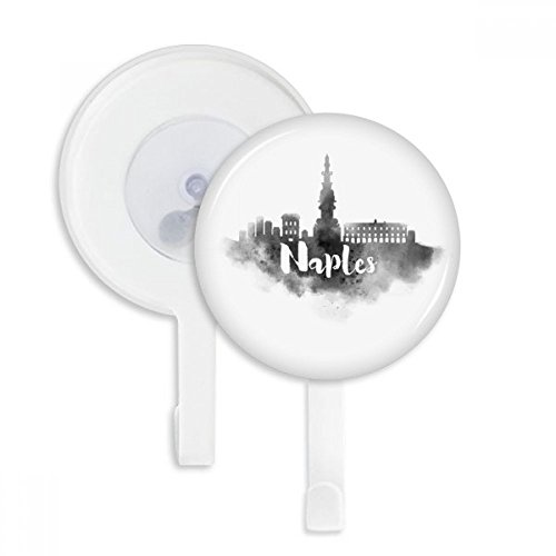 Naples Italy Landmark Ink City Painting Sucker Suction Cup Hooks Plastic Bathroom Kitchen 5pcs Gift (Naples Cup)