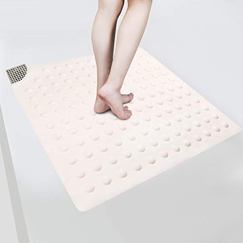 Wimaha Non Slip Shower Mat Bath Tub Mat with Suction Cups for Bathroom Floor & Stall, Rubber Square Mat with Cutout (Fits More Drains), Machine Washable, 21 x 21