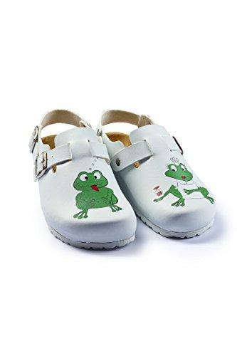 CLINIC DRESS Damen-Clog Weiß Frosch-Druck weiß/Motiv Frosch 39