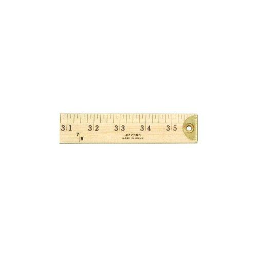 Yardstick Ruler (Charles Leonard Metal Edged Yardstick Ruler, Inches and 1/8 Yard Measurements, Natural Wood, 36 Inches  (77565))