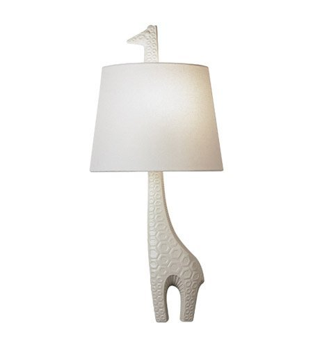 Robert Abbey 730L Sconces with White Linen Fabric Shades, Ceramic White Glaze Finish (Robert Abbey Contemporary Sconce)