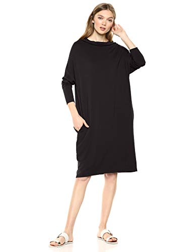 Amazon Brand - Daily Ritual Women's Supersoft Terry Modern Funnel-Neck Dress, Black , -