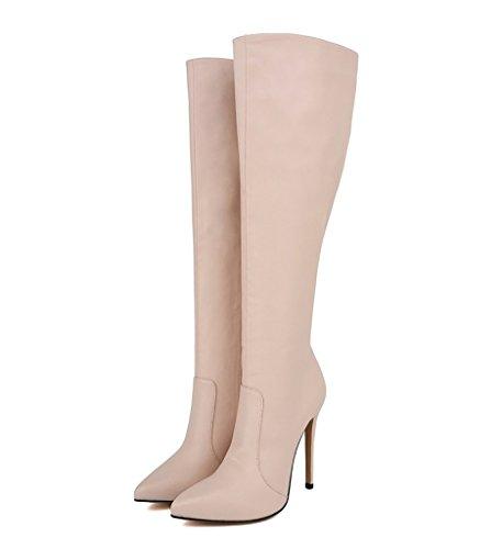 EKS High Women's Pointed Stilettos Toe Knee Nude Coppy Boots High Heels Leather rwrqdIxTg