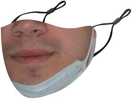 Richwu 1PC Visage_Masque Tissu Lavable pour Le Visage Drôle Qui Ne Portait Pas De Facial_Masque Nouveauté Amusant Réutilisable Lavable, Homme Femme Drôle Humour Imprimé Protecteur