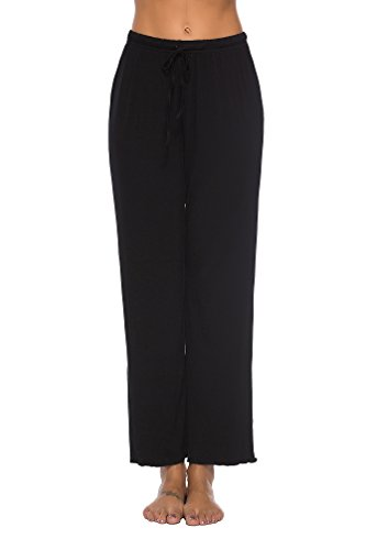 WOAIVOOU Women's Stretch Cotton Jersey Knit Pajama Pants Wide Leg Drawstring Black XL - Cotton Knit Pjs