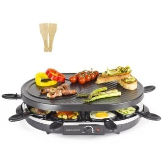 King of Raclette Oval Party Grill with Temperature Control & Safety Indicator Electric Non-stick BBQ Grilling Plate for up to 8 Persons