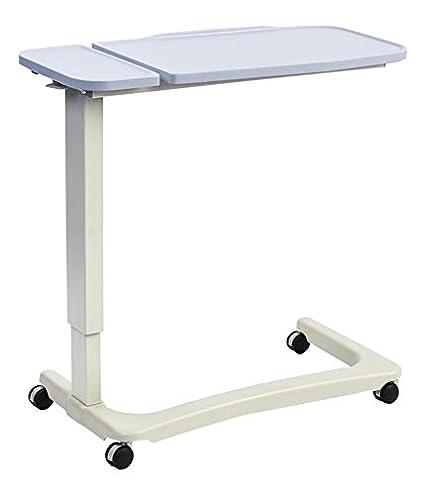 NRS Healthcare Easylift - Elevador Overbed/mesa auxiliar para silla (moderno azul n43589 Altura Ajustable curvado, silla de ruedas, base & inclinable: ...