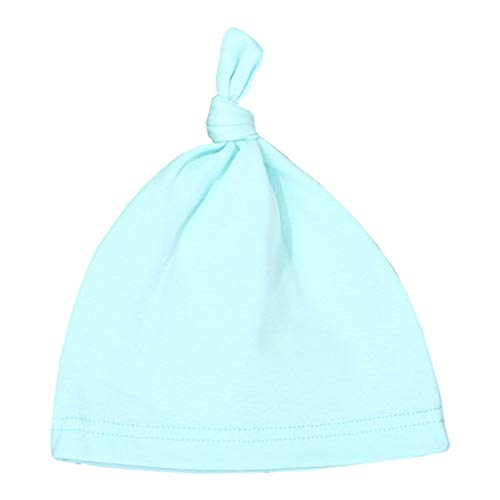 Baby Skullies Beanies Cotton Solid Baby Hat Beanies Children Hat Light Blue