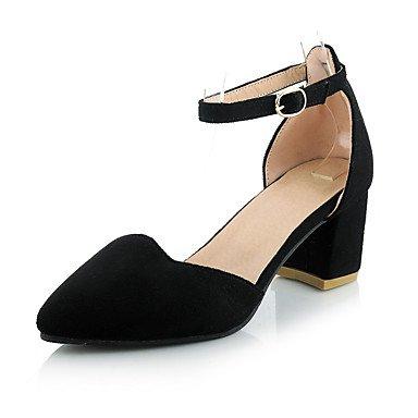 LvYuan Mujer-Tacón Robusto-Otro-Sandalias-Oficina y Trabajo Vestido Fiesta y Noche-Vellón PU-Negro Blanco Gris Black