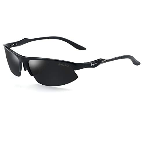 Mens Frame Jack - GREY JACK Al-Mg Lightweight Half-Frame Sports Polarized Sunglasses for Men Women Black Frame Black Lens