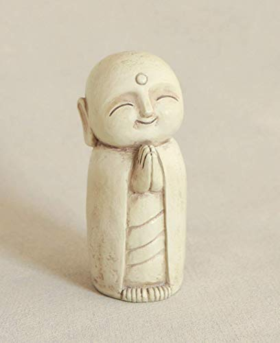 Buddha Groove Healing Jizo Monk Statue for Indoor Outdoor Use in Stone-Wash Finish Cream