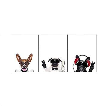 Definición moderna del paisaje Petróleo Murales pared Sin marco Perro mascota Decoración hogareña Art (3 piezas): Amazon.es: Hogar