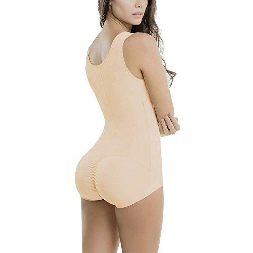 5eab540dee657 TOPMELON Women s Seamless Firm Control Zipper Bodysuit Shaper Smoothing  Open Bust Full Body Shapewear with Straps