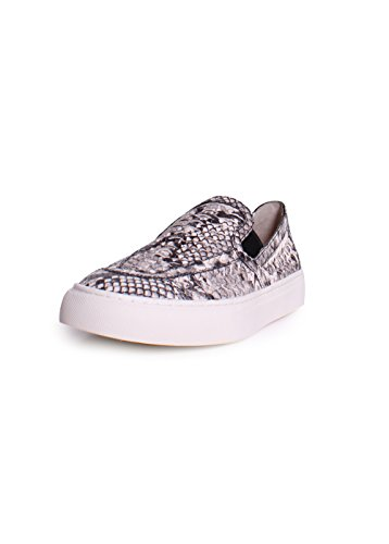 Tory Burch Huarache Leather Snake Embossed Slip On Sneakers In Roccia Natural Size - Tory Snake Burch
