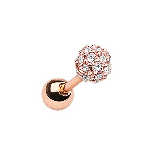 - Rose Gold Full Dome Pave Cartilage Tragus Earring Size 18GA 1/4