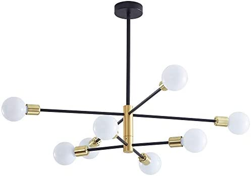 Sputnik Chandelier Mid Century Modern Industrial E26 LED Pendant Lighting Chandeliers Ceiling Light Fixture Black and Gold Light