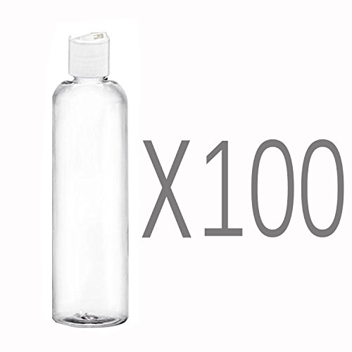 MoYo Natural Labs 8 oz Travel Bottles, Empty Travel Containers with Disc Caps, BPA Free PET Plastic Squeezable Toiletry/Cosmetic Bottles (Pack of 100, Clear) by MoYo Natural Labs