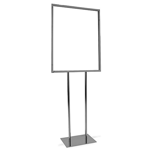 Bulletin Sign Holder - Econoco Heavy Duty Poster Display - Twin Uprights, Flat Floor Base - Indoor Standing Flyer Board 60