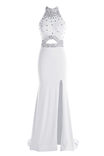Tideclothes Long Beading Prom Dress Halter Front Split Evening Dress Ivory US26Plus (Big Poofy Dresses)