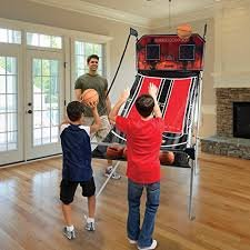 Best Selling Indoor Pro-Model-Electronic Two-Players Basketball Arcade Hoops Shoot-Out Game Competition- Let The Fun Begin- 8 Different Competitive Games- 4 Balls LED Auto Scoreboard Action Packed by Pro-Model Hoops Shoot-Out