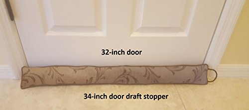 Door Draft Stopper 34 inches Heavy Duty Durable Door / Window Draft Blocker- Storage Bag - Door Draft Protectors