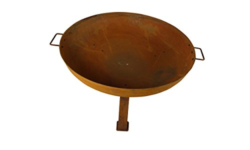 MagJo Rustic Cast Iron Wood-Burning Fire Pit Bowl, 30 Inch Diameter (Rust) - Overall dimensions: 30 inch diameter x 15 inches tall. Bowl is 6 inches deep. Handle to Handle measures 34.5 inches. havy dut cast iron construction! With a weight of over 25 pounds, this fire pit is a sturdy and reliable addition to any backyard. 1-year manufacturer's warranty. - patio, outdoor-decor, fire-pits-outdoor-fireplaces - 31vm78%2B7PGL -