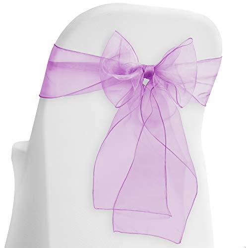 Lann's Linens - 100 Elegant Organza Wedding/Party Chair Cover Sashes/Bows - Ribbon Tie Back Sash - Lavender