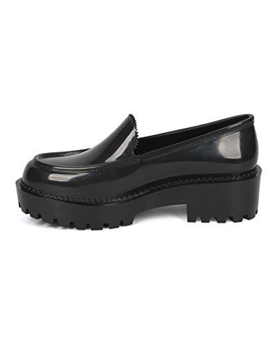 Melissa Women Jelly Mocassino - Glitter Lug Suola Slip On Creeper - Trendy Fashion Fun Platform Shoe - Panapana By Black
